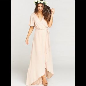 Show me your mumu sophia dusty blush wrap dress